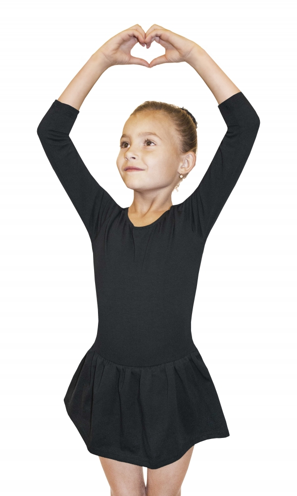 BODYSUIT GIRLS ¾ SLEEVE LEOTARD WITH SKIRT