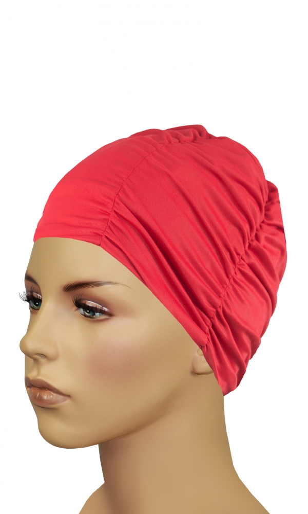 LADIES FABRIC BATHING CAP red
